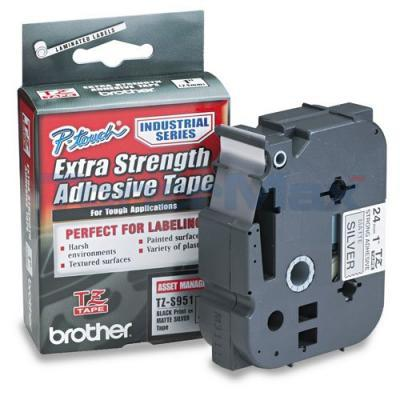 BROTHER TZ EXTRA-STRENGTH TAPE BLACK/SILVER 1IN